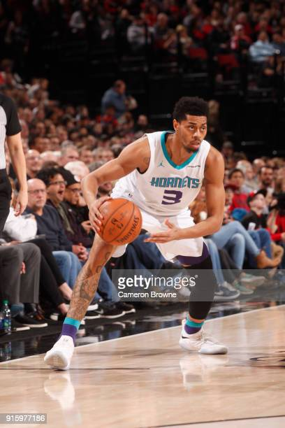 Jeremy Lamb of the Charlotte Hornets handles the ball against the Portland Trail Blazers on February 8 2018 at the Moda Center in Portland Oregon...