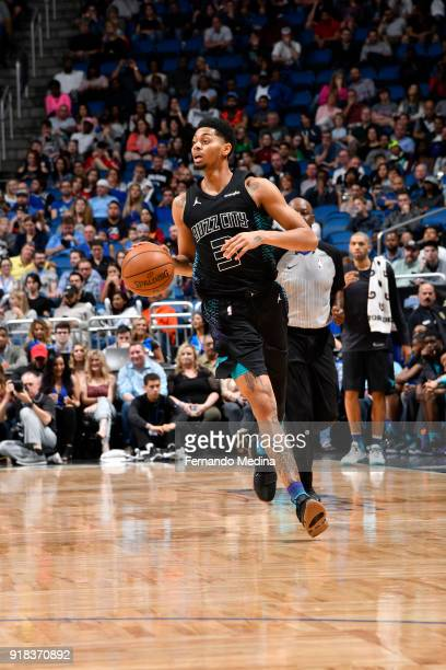 Jeremy Lamb of the Charlotte Hornets handles the ball against the Orlando Magic on February 14 2018 at Amway Center in Orlando Florida NOTE TO USER...
