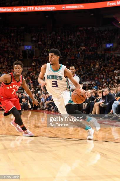 Jeremy Lamb of the Charlotte Hornets handles the ball against the Toronto Raptors on March 4 2018 at the Air Canada Centre in Toronto Ontario Canada...