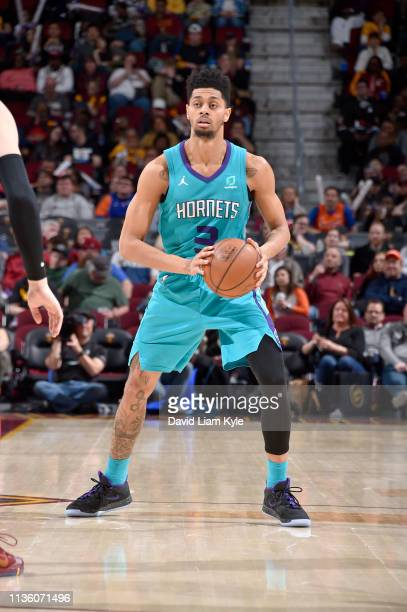 Jeremy Lamb of the Charlotte Hornets handles the ball during the game against the Cleveland Cavaliers on April 9 2019 at Rocket Mortgage FieldHouse...
