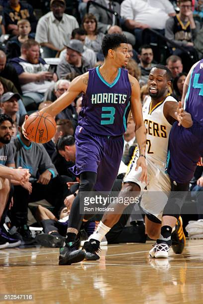 Jeremy Lamb of the Charlotte Hornets handles the ball during the game against the Indiana Pacers on February 26 2016 in Indianapolis Indiana NOTE TO...