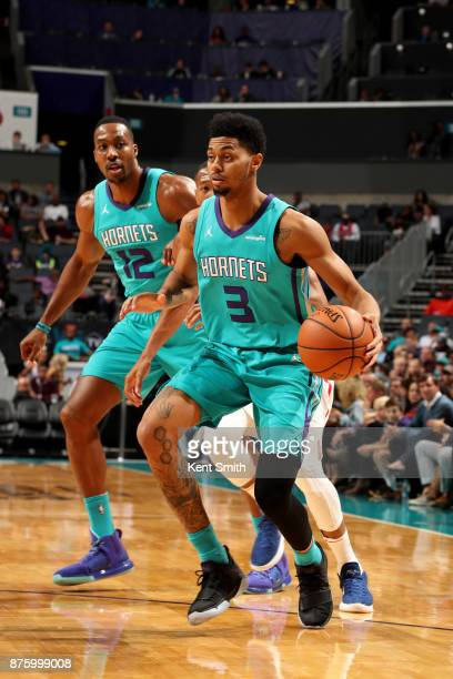Jeremy Lamb of the Charlotte Hornets handles the ball during the game against the LA Clippers on November 18 2017 at Spectrum Center in Charlotte...