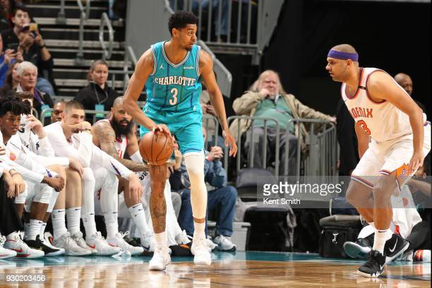 Jeremy Lamb of the Charlotte Hornets handles the ball during the game against the Phoenix Suns on March 10 2018 at Spectrum Center in Charlotte North...