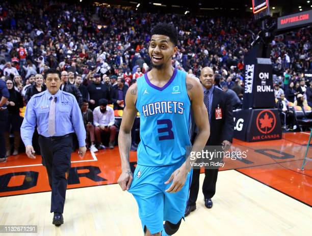 Jeremy Lamb of the Charlotte Hornets is all smiles after sinking a buzzer beater to win an NBA game against the Toronto Raptors at Scotiabank Arena...