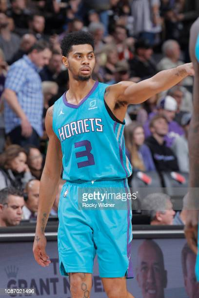 Jeremy Lamb of the Charlotte Hornets looks on during the game against the Sacramento Kings on January 12 2019 at Golden 1 Center in Sacramento...