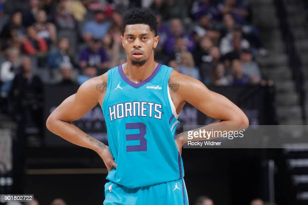 Jeremy Lamb of the Charlotte Hornets looks on during the game against the Sacramento Kings on January 2 2018 at Golden 1 Center in Sacramento...