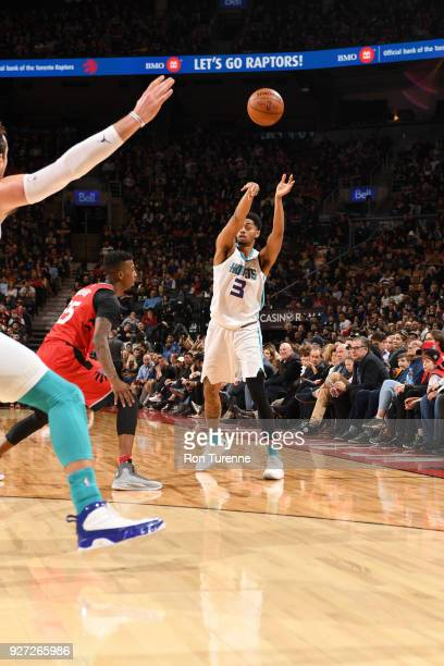 Jeremy Lamb of the Charlotte Hornets passes the ball against the Toronto Raptors on March 4 2018 at the Air Canada Centre in Toronto Ontario Canada...