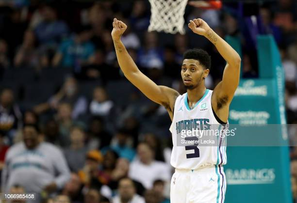 Jeremy Lamb of the Charlotte Hornets reacts after a play against the Utah Jazz during their game at Spectrum Center on November 30 2018 in Charlotte...