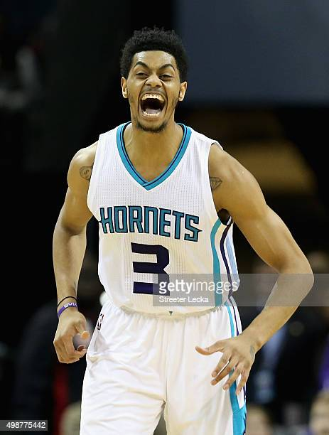 Jeremy Lamb of the Charlotte Hornets reacts after a play during their game against the Washington Wizards at Time Warner Cable Arena on November 25...