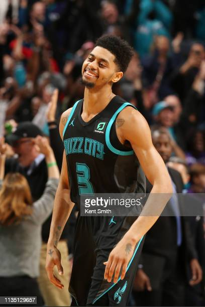 Jeremy Lamb of the Charlotte Hornets reacts during the game against the Toronto Raptor on April 5 2019 at Spectrum Center in Charlotte North Carolina...
