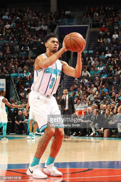 Jeremy Lamb of the Charlotte Hornets shoots a free throw during the game against the Brooklyn Nets on December 28 2018 at Spectrum Center in...