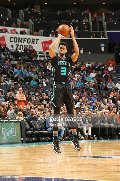 Jeremy Lamb of the Charlotte Hornets shoots the ball against the New York Knicks during the game on November 26 2016 at Spectrum Center in Charlotte...