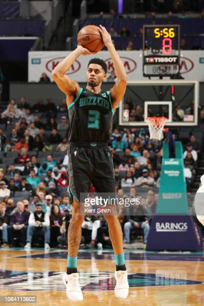 Jeremy Lamb of the Charlotte Hornets shoots the ball against the Indiana Pacers on November 21 2018 at Spectrum Center in Charlotte North Carolina...
