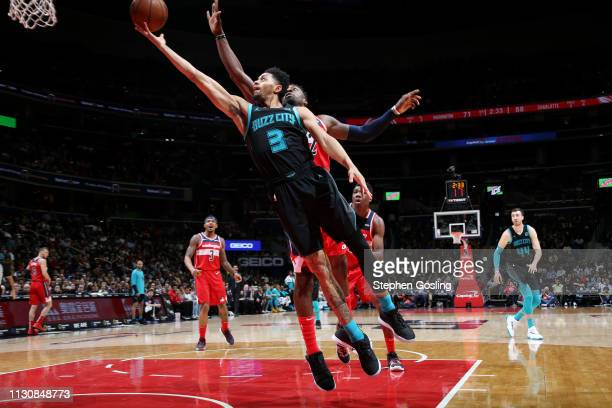 Jeremy Lamb of the Charlotte Hornets shoots the ball against the Washington Wizards` on March 15 2019 at Capital One Arena in Washington DC NOTE TO...