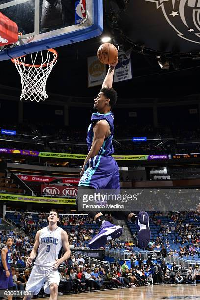 Jeremy Lamb of the Charlotte Hornets shoots the ball against the Orlando Magic during the game on December 28 2016 at Amway Center in Orlando Florida...