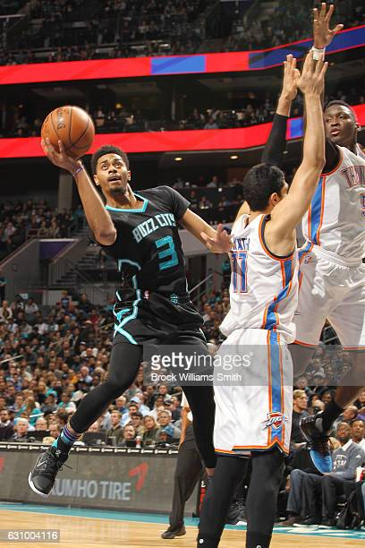 Jeremy Lamb of the Charlotte Hornets shoots the ball against the Oklahoma City Thunder during the game on January 4 2017 at Spectrum Center in...