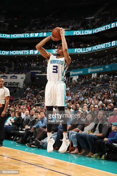 Jeremy Lamb of the Charlotte Hornets shoots the ball during a game against the Atlanta Hawks on March 20 2017 at Spectrum Center in Charlotte North...