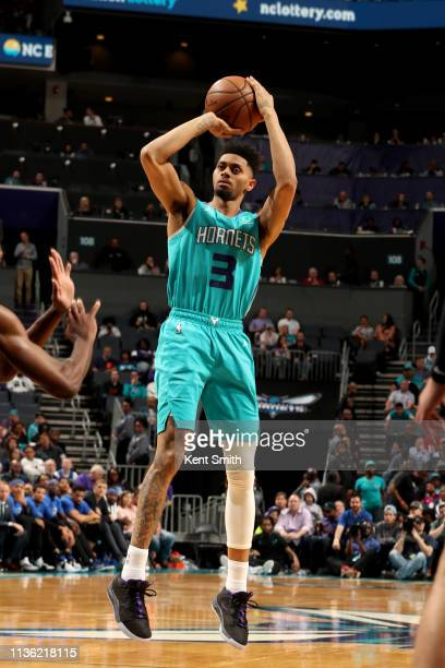 Jeremy Lamb of the Charlotte Hornets shoots the ball during the game against the Orlando Magic on April 10 2019 at Spectrum Center in Charlotte North...
