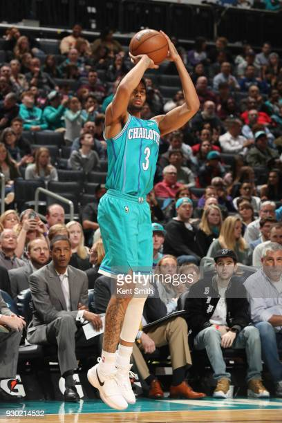 Jeremy Lamb of the Charlotte Hornets shoots the ball during the game against the Phoenix Suns on March 10 2018 at Spectrum Center in Charlotte North...