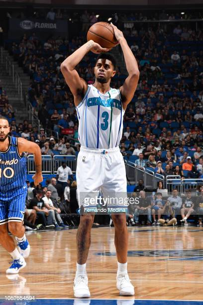 Jeremy Lamb of the Charlotte Hornets shots a free throw during a game against the Orlando Magic on October 19 2018 at Amway Center in Orlando Florida...
