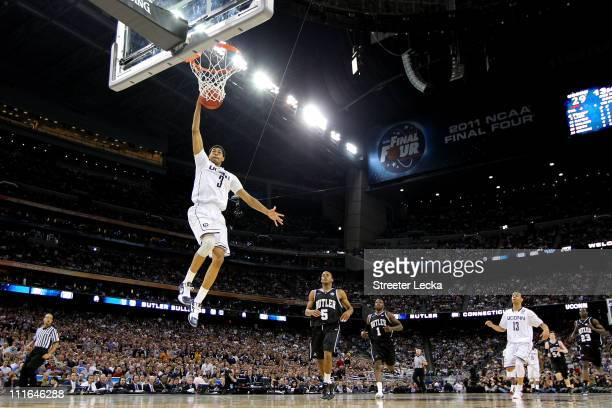 Jeremy Lamb of the Connecticut Huskies dunks the ball against the Butler Bulldogs during the National Championship Game of the 2011 NCAA Division I...