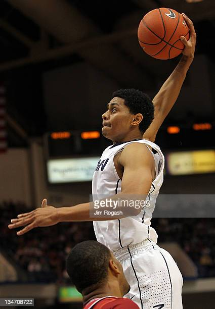 Jeremy Lamb of the Connecticut Huskies scores a basket against the Arkansas Razorbacks in the first half on December 3 2011 at the XL Center in...