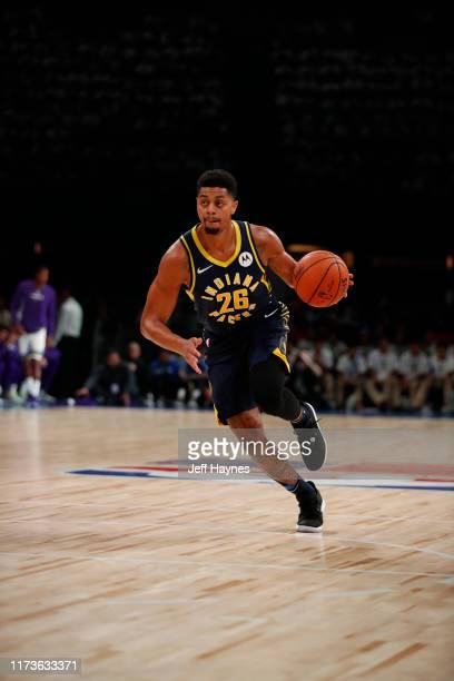 Jeremy Lamb of the Indiana Pacers handle the ball against the Sacramento Kings on October 4 2019 at NSCI Dome in Mumbai India NOTE TO USER User...