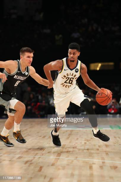 Jeremy Lamb of the Indiana Pacers handles the ball against the Sacramento Kings on October 5 2019 at NSCI Dome in Mumbai India NOTE TO USER User...
