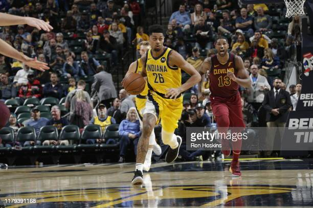 Jeremy Lamb of the Indiana Pacers handles the ball against the Cleveland Cavaliers on November 1 2019 at Bankers Life Fieldhouse in Indianapolis...