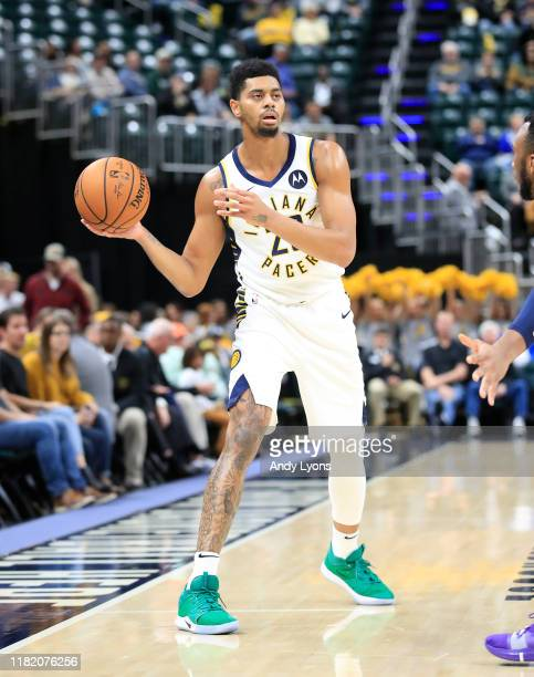 Jeremy Lamb of the Indiana Pacers looks to pass the ball against the Minnesota Timberwolves at Bankers Life Fieldhouse on October 15 2019 in...