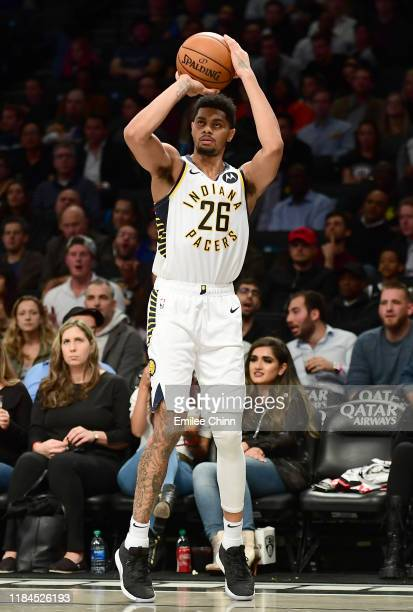 Jeremy Lamb of the Indiana Pacers shoots a threepointer during the second half of their game against the Brooklyn Nets at Barclays Center on October...