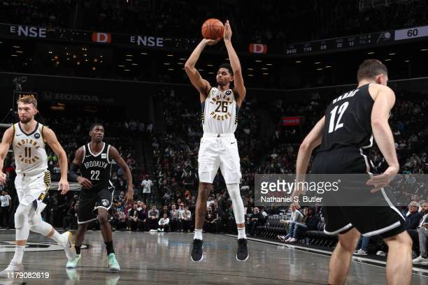 Jeremy Lamb of the Indiana Pacers shoots the ball against the Brooklyn Nets on October 30 2019 at Barclays Center in Brooklyn New York NOTE TO USER...