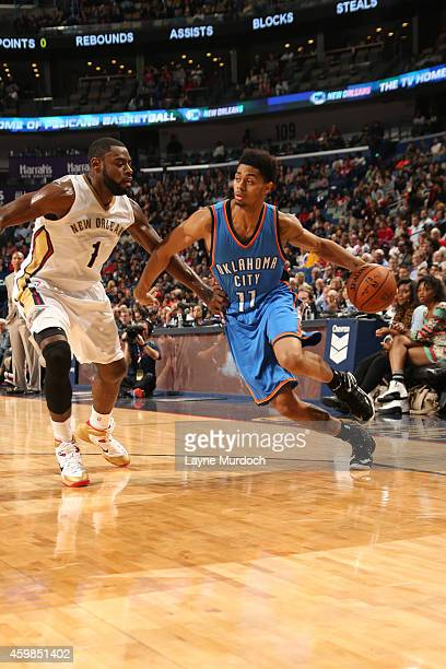 Jeremy Lamb of the Oklahoma City Thunder handles the ball against the New Orleans Pelicans during the game on December 2 2014 at the Smoothie King...