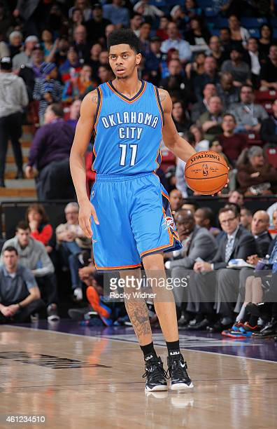 Jeremy Lamb of the Oklahoma City Thunder handles the ball against the Sacramento Kings on January 7 2015 at Sleep Train Arena in Sacramento...