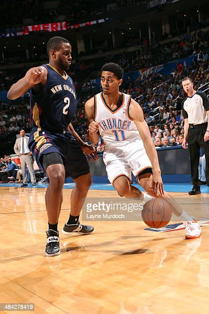 Jeremy Lamb of the Oklahoma City Thunder handles the ball against the New Orleans Pelicans on April 11 2014 at the Chesapeake Energy Arena in...