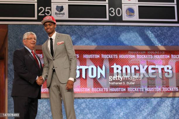 Jeremy Lamb shakes hands with NBA Commissioner David Stern after being selected number twelve overall by the Houston Rockets during the 2012 NBA...
