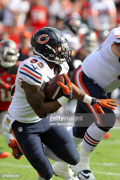 Jeremy Langford of the Bears carries the ball during the NFL game between the Chicago Bears and Tampa Bay Buccaneers at Raymond James Stadium in...