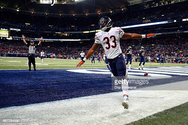 Jeremy Langford of the Chicago Bears celebrates after scoring a touchdown in the second quarter against the St Louis Rams at the Edward Jones Dome on...