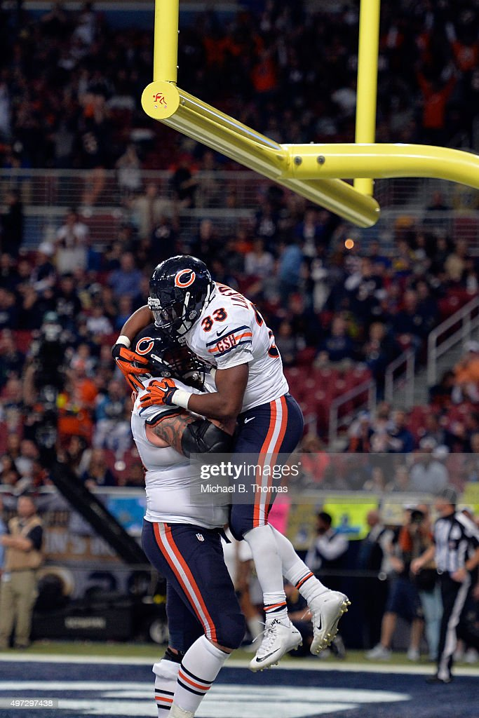 Jeremy Langford #33 of the Chicago Bears celebrates after scoring a touchdown in the fourth quarter against the St. Louis Rams at the Edward Jones Dome on November 15, 2015 in St. Louis, Missouri.