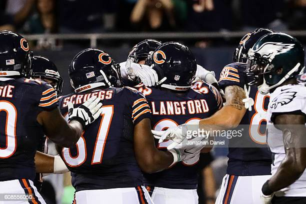 Jeremy Langford of the Chicago Bears celebrates after scoring a touchdown in the second quarter against the Philadelphia Eagles at Soldier Field on...