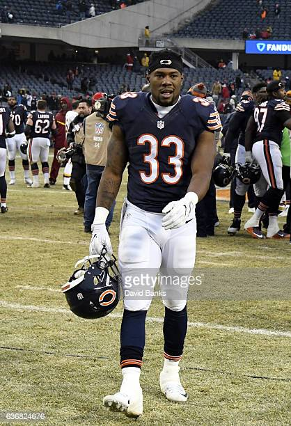 Jeremy Langford of the Chicago Bears leaves the field after the game against the Washington Redskins at Soldier Field on December 24, 2016 in...