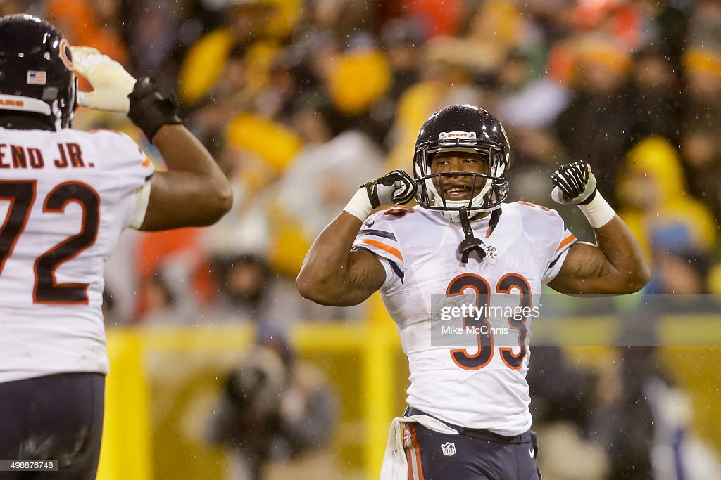 Jeremy Langford #33 of the Chicago Bears reacts after scoring a touchdown in the second quarter against the Green Bay Packers at Lambeau Field on November 26, 2015 in Green Bay, Wisconsin.