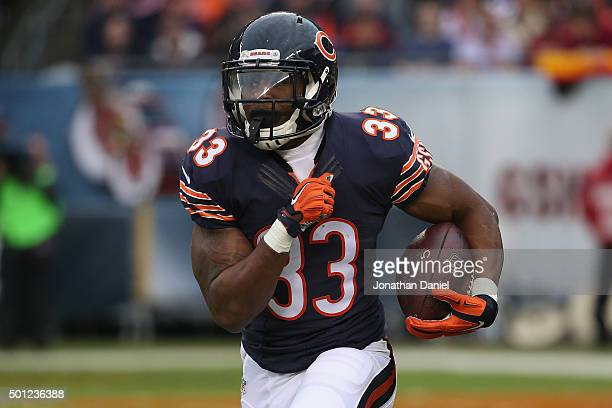 Jeremy Langford of the Chicago Bears runs the ball during the second quarter at Soldier Field on December 13, 2015 in Chicago, Illinois.