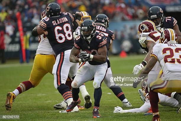 Jeremy Langford of the Chicago Bears runs the ball during the second quarter against the Washington Redskins at Soldier Field on December 13, 2015 in...