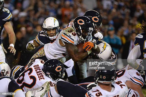 Jeremy Langford of the Chicago Bears scores a touchdown against the San Diego Chargers at Qualcomm Stadium on November 9, 2015 in San Diego,...