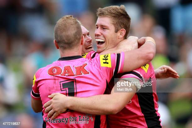 Jeremy Latimore of the Panthers celebrates scoring a try during the round one NRL match between the Penrith Panthers and the Newcastle Knights at...