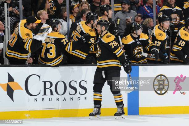 Jeremy Lauzon of the Boston Bruins celebrates his first period goal against the Vegas Golden Knights the TD Garden on January 21, 2020 in Boston,...