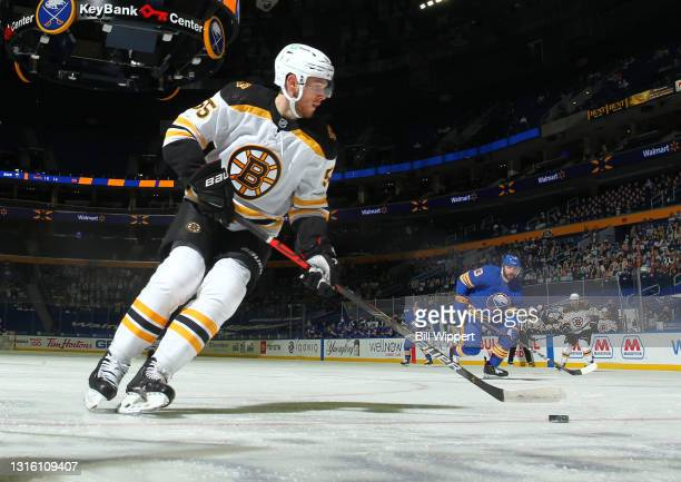 Jeremy Lauzon of the Boston Bruins skates against the Buffalo Sabres during an NHL game on April 23, 2021 at KeyBank Center in Buffalo, New York.
