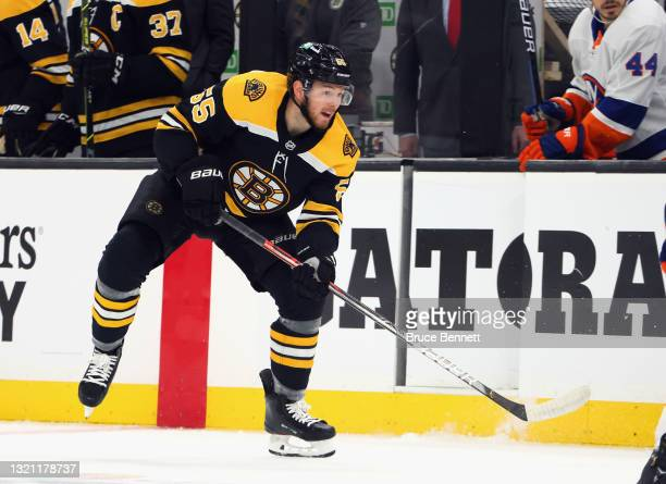 Jeremy Lauzon of the Boston Bruins skates against the New York Islanders in Game Two of the Second Round of the 2021 Stanley Cup Playoffs at the TD...