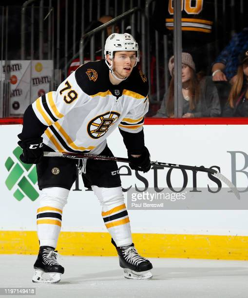 Jeremy Lauzon of the Boston Bruins waits for a face off during an NHL hockey game against the New Jersey Devils on December 31, 2019 at the...